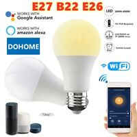 2 PCS Wifi Smart Light Bulb Dimmable LED 9W B22 E27 E26 W/ Google Home /Alexa UK