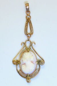 GORGEOUS Antique Estate 10K Gold Filigree Hand Carved Cameo & Seed Pearl Pendant