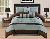 7 Pc luxury KING Bed In a Bag Comforter Set Aqua Blue Brown-hs16