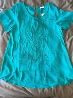 Gentle Fawn GF Collection Teal Lace Up Sophie Blouse Top S (Reg. $82) GF152-2106