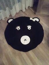 Häkelteppich Pandabär schwarz neu 85x85 cm selbstgestrickt Handmade