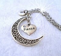 Fiance Filigree Crescent Moon Necklace, Fiance Birthday Gift, Gift for Fiance