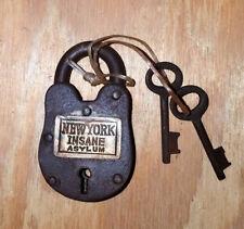 New York Insane Asylum Cast Iron Working Lock With 2 Keys Rusty Antique Finish