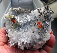 RED REALGAR and BOTRYOIDAL ORPIMENT on FINE CLEAR QUARTZS - PERU-BRILLIANT PIECE