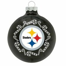 Pittsburgh Steelers Logo NFL Candy Cane Glass Ball Holiday Tree Xmas Ornament