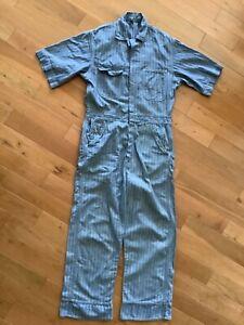 Vintage 1960's Short Sleeve Work Coveralls Blue Pinstripe
