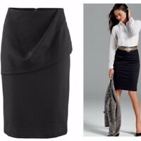 Cabi Womens Overlay Pencil Skirt Ponte Twill Knee Length Size 2 Career Black