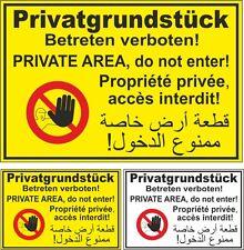 Verbotsschild PVC Privatgrundstück Betreten verboten arabisch französisch #A6