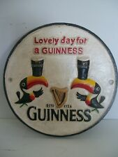 RETRO VINTAGE DESIGN HAND PAINTED CAST IRON GUINNESS TOUCANS ADVERTISING SIGN