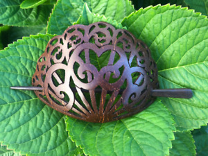 LARGE CHUNKY Baroque Victorian Filigree Carved COCONUT SHELL WOOD HAIR BARRETTE