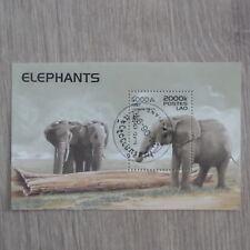TIMBRES ANIMAUX : BLOC ELEPHANTS : BLOC OBLITERE DU LAO 1997 / ELEPHANTS STAMPS