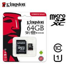 MICROSD 64GB ORIGINALE CANVAS SELECT CLASSE10 KINGSTON MEMORIA CELLULARE TABLET