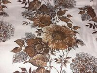 VINTAGE RETRO 1970s PAIR OF CURTAINS BROWN FLOWERS 88 DROP X 60 WIDE INCHES