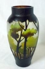 Arts & Crafts Cameo Glass Tri-Color Tree Forest Landscape Vase