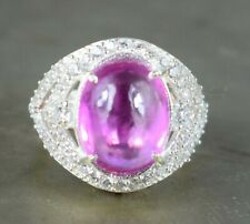 Cabochon Padparadscha Pink Sapphire Natural 925 Silver Ring 12.36 Ct Certified