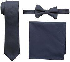 New NICK GRAHAM Men's Dot Neck Tie,Wood Grain Bow Tie and Pocket Square Set,Navy