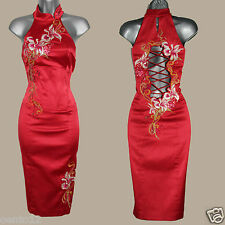 KAREN MILLEN Red Oriental Chinese Style Embroidered Cocktail Wiggle Dress 10 UK