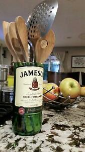 Jameson Bottle Glass Vase / Kitchen Utensil Holder / Irish Whiskey Gifts
