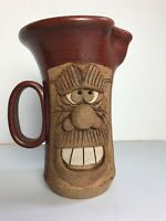 """Ugly Face Pitcher Man With Teeth And Moustache Signed 8.5"""" High"""