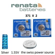2 x Renata 371 1.55v Watch Coin / Cell Batteries SR920SW Mercury Free