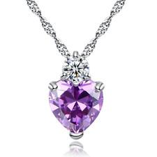 Silberkette Herz Halskette mit Anhänger Geburtstagsgeschenk Kristall S925 lila