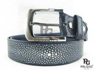 "PELGIO Genuine Polished Stingray Skin Leather Men's Belt 46"" Long Navy Blue"