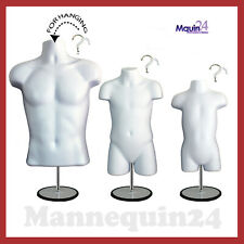 Torso Body Dress Mannequin Form White Male Child Toddler Set 3 Stands + 3 Hanger