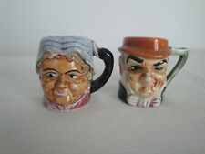 Salt & Pepper Toby Mugs Man and Woman Hand Painted Vintage Ceramic