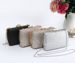 Ladies Women's Pretty Glitter Hardcase Clasp Evening Clutch Purse Bag Handbag
