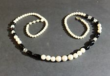 Japan made long faux pearls black poured blass bead  NECKLACE