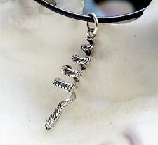 Anhänger Silber Schlange 4 cm gedreht Lederband Kette Kettenanhänger Snake Groß