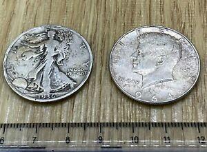 2x USA Half Dollars 1936 Walking Liberty a bit edgy + 1964 Kennedy (ref #22)