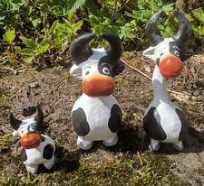 Super Cute Cow Family Set of 3 Ornament Figure Cows Wooden