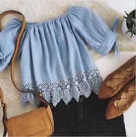 Fashion Women's Ladies Off Shoulder Summer Lace Shirt  Crop Tops Casual Blouse