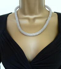 Stunning Diamante Choker Necklace in a Popcorn Style AB Crystals in Silver Tone