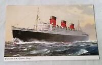 VTG CUNARD RMS QUEEN MARY OCEAN LINER POSTCARD C. E. TURNER ILLUSTRATION