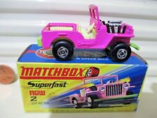 Lesney Matchbox MB2B PINK JEEP HOT ROD Lite Green Base Yellow Seats Nu in Nu Box