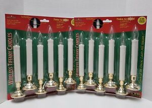 Brite Star Wireless LED Tiffany Candles 12 PACK Christmas Window GOLD Auto Timer