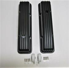 SBC Small Block Chevy 283 305 350 Retro Finned Aluminum TALL Valve Covers BLACK