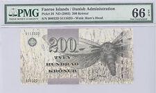 2003 ND Faeroe Islands Danish Administration 200 Kronur PMG 66 EPQ GEM UNC P# 26