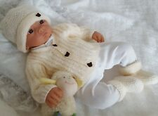 Baby Knitting Pattern #72 to KNIT baby or  reborn dolls cardigan hat and booties