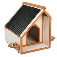 Hundehütte Hundehaus Haus Wetterfest Tierhaus Höhle Modern mit Futterplatz Holz