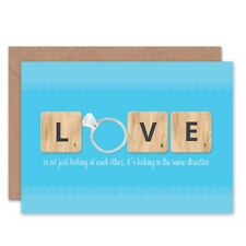 Birthday Wedding Love Same Direction Ring Scrabble Blank Greeting Card