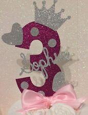 Personalised girls third birthday number three cake topper pink Girl 3 princess