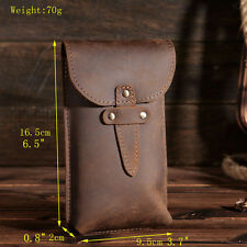 Men's Vintage Genuine Leather Belt Fanny Phone Waist Bag Outdoor Travel Pouch
