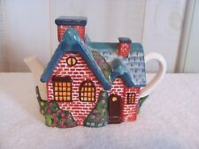 Thomas Kinkade Red Brick Cottage Teapot 2005 with removable Chimney Lid