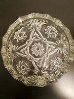 "Vintage 8"" Round Clear Cut Glass Ashtray Starburst & Diamond  Cigarette Joint"