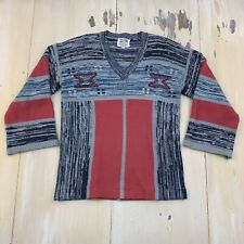 FULLY FASHIONED SOCIETY - Vtg 70s Boho Orange Black Blue Sweater, Womens LARGE