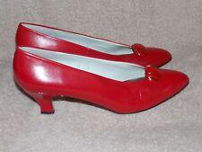 Liz Claiborne RED Heel Pumps 10N Narrow Leather Women Used