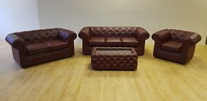 Chesterfield Sofas in Ox Blood Leather